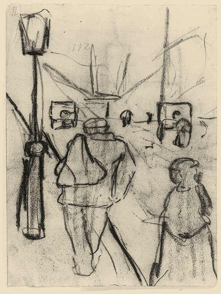 Paula Modersohn-Becker, Pariser Straßenszene, um 1905, Kohle auf Papier (Paula-Modersohn-Becker-Stiftung)