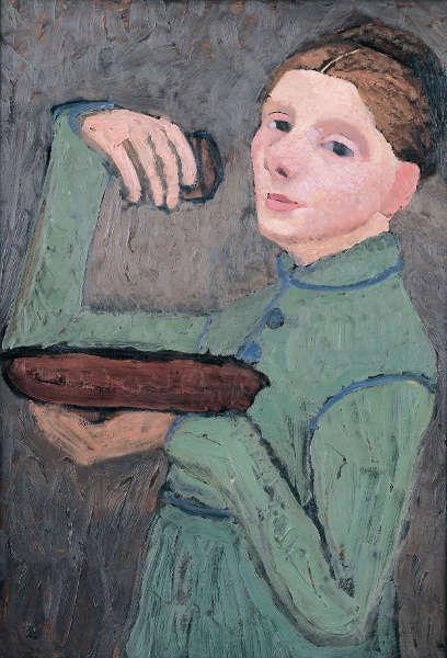 Paula Modersohn-Becker, Selbstbildnis, Halbfigur nach links, eine Schale und ein Glas haltend, um 1904, Öltempera auf Pappe, 67 x 46 cm (Privatbesitz)