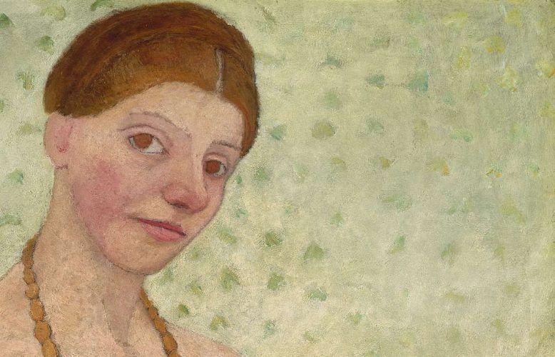 Paula Modersohn-Becker, Selbstbildnis am 6. Hochzeitstag, 25. Mai 1906, Detail, Öltempera auf Pappe, 101,8 x 70,2 cm (Museen Böttcherstraße, Paula Modersohn-Becker Museum)