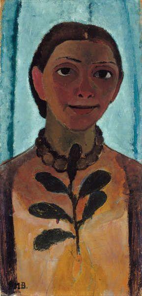 Paula Modersohn-Becker, Selbstbildnis mit Kamelienzweig, 1906/07, Öltempera auf Pappe, 61,5 x 30,5 cm (Museum Folkwang, Essen)