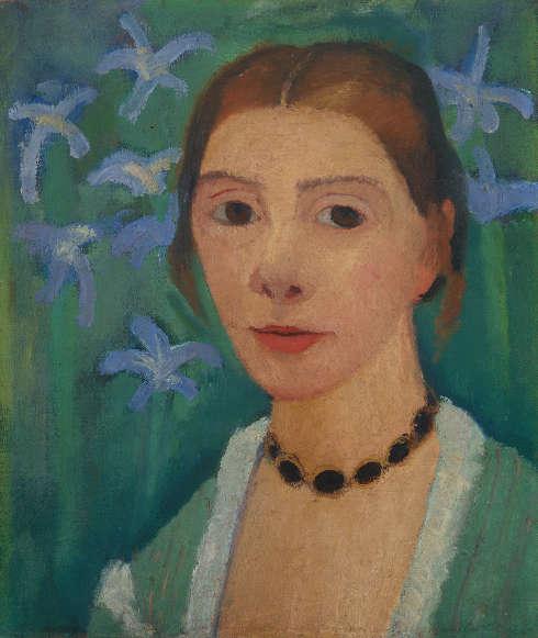Paula Modersohn-Becker, Selbstbildnis vor grünem Hintergrund mit blauer Iris, 1900-1907, Öl auf Leinwand, 40,7 x 34,5 cm (Kunsthalle Bremen – Der Kunstverein in Bremen)