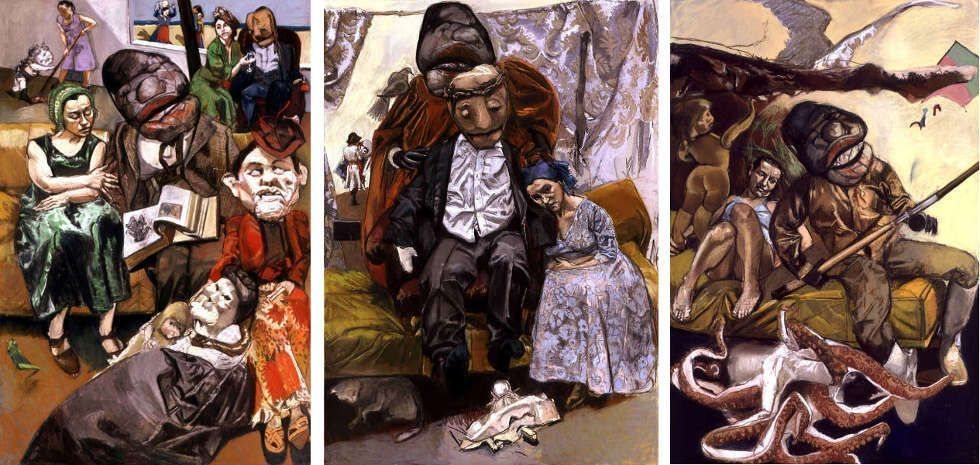 Paula Rego, The fisherman, Triptychon, 2005, Pastell auf Holz, 180 x 120 cm (© Collection of the Artist)