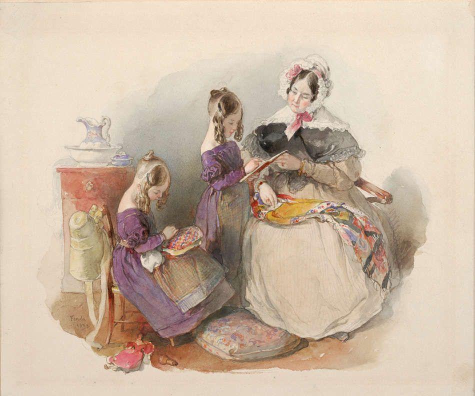 Peter Fendi, Die Prinzessinnen Elise und Fanny Liechtenstein mit ihrer Erzieherin, 1838 (Albertina, Wien)