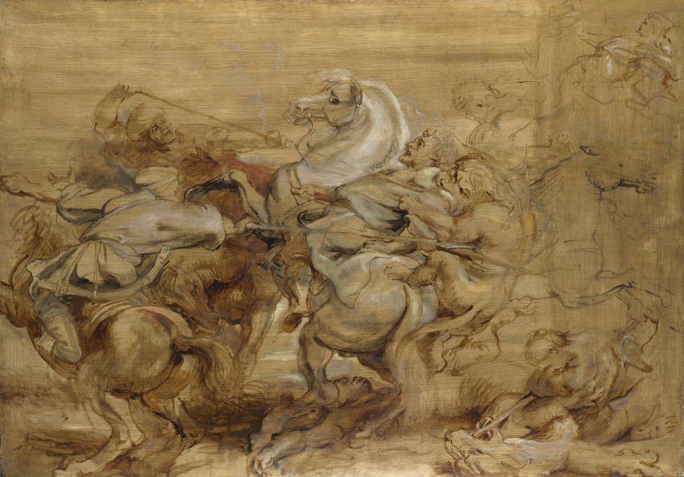 Peter Paul Rubens, Die Löwenjagd, um 1615, Öl/Holz, 73.6 x 105.4 cm (London, The National Gallery)