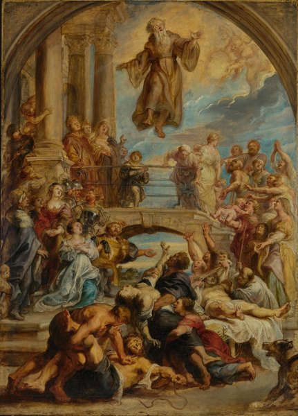 Peter Paul Rubens, Die Wunder des hl. Franz von Paul, um 1627/28, Öl/Holz, 110.5 × 79.4 cm (Los Angeles, The J. Paul Getty Museum)