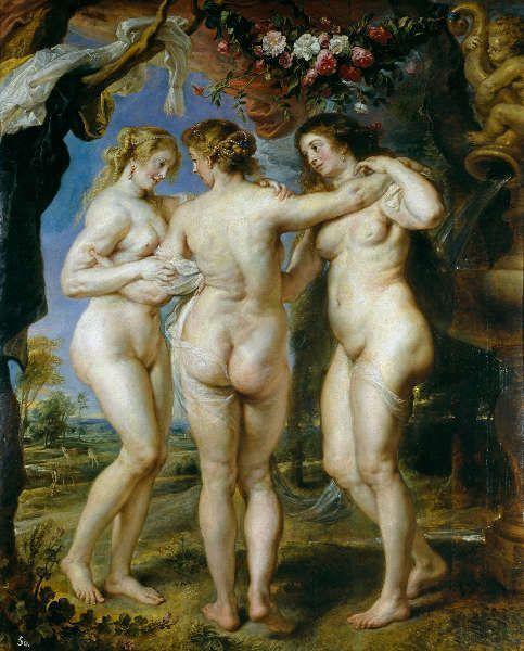 Peter Paul Rubens, Die drei Grazien, 1635, Öl/Holz, 220,5 x 182 cm (Madrid, Museo Nacional del Prado)