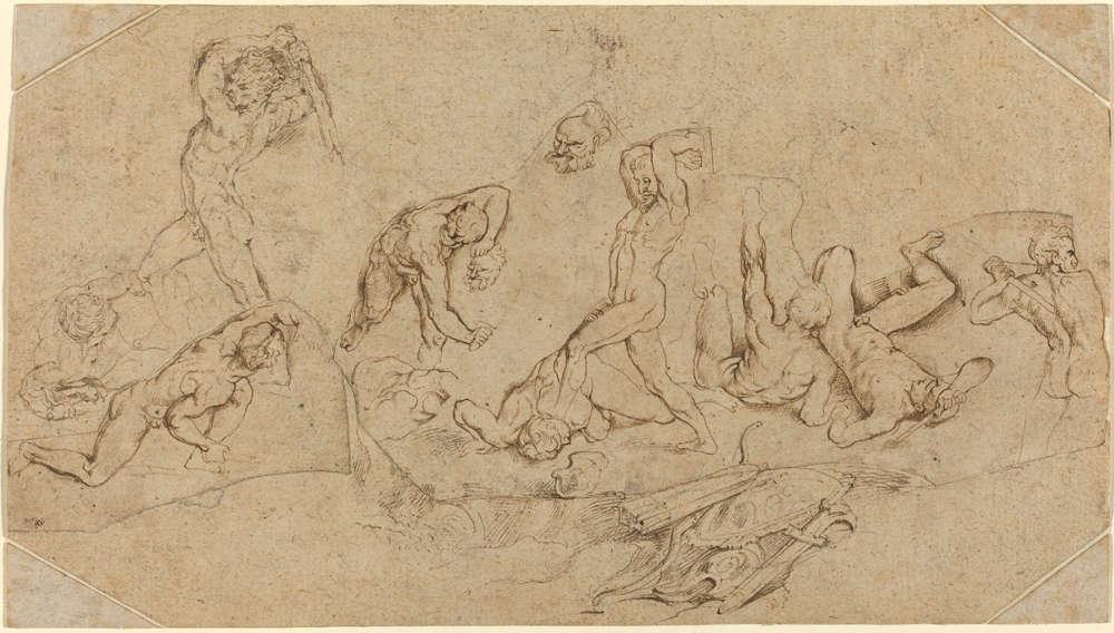 Peter Paul Rubens, Kampf nackter Männer, um 1598/1600, Feder auf Papier, 14.1 x 25.2 cm (Washington, National Gallery of Art, Julius S. Held Collection, Ailsa Mellon Bruce Fund, 1984.3.57)