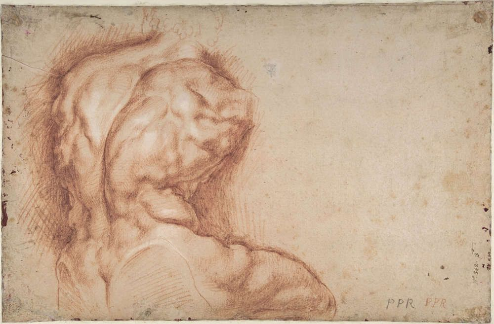 Peter Paul Rubens, Studie des Torso Belvedere, um 1601/02, Rötel, auf Papier, 39,5 × 26 cm (New York, The Metropolitan Museum of Art, Purchase, 2001 Benefit Fund, 2002, Acc. No. 2002.12a/b © The Metropolitan Museum of Art, New York)