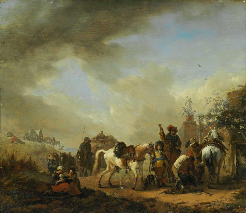 Philips Wouwerman, Der Schimmel vor der Schmiede, nach 1654 (Museumslandschaft Hessen Kassel, Gemäldegalerie Alte Meister © Museumslandschaft Hessen Kassel)