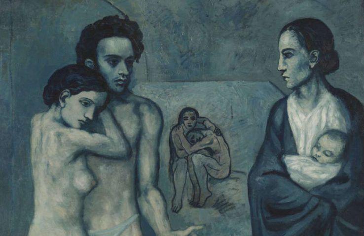 Pablo Picasso, Das Leben [La vie], Detail, Barcelona Mai 1903 (Cleveland Museum of Art)