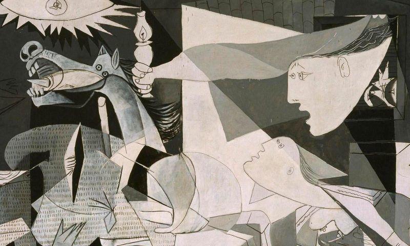 Pablo Picasso, Guernica, Detail, Paris, 1. Mai bis 4. Juni 1937, Öl auf Leinwand, 349,3 x 776,6 cm (Museo Nacional Centro de Arte Reina Sofia © Sucesión Pablo Picasso, VEGAP, Madrid, 2017)