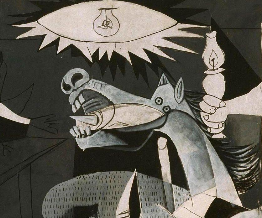 Pablo Picasso, Guernica, Pferdekopf, Paris, 4. Juni 1937, Öl auf Leinwand, 349,3 x 776,6 cm (Museo Nacional Centro de Arte Reina Sofia © Sucesión Pablo Picasso, VEGAP, Madrid, 2017)