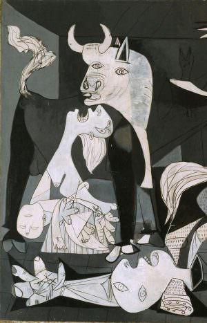 Pablo Picasso, Guernica, Stier und Pietà, Paris, 4. Juni 1937, Öl auf Leinwand, 349,3 x 776,6 cm (Museo Nacional Centro de Arte Reina Sofia © Sucesión Pablo Picasso, VEGAP, Madrid, 2017)