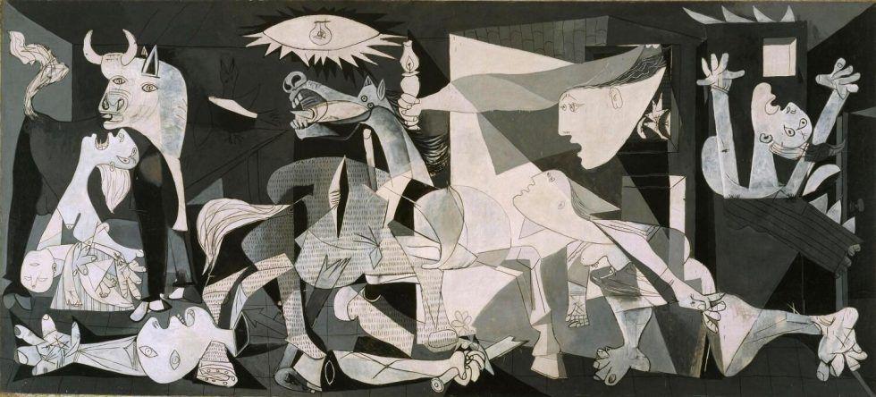 Pablo Picasso, Guernica, Paris, 1. Mai bis 4. Juni 1937, Öl auf Leinwand, 349,3 x 776,6 cm (Museo Nacional Centro de Arte Reina Sofia © Sucesión Pablo Picasso, VEGAP, Madrid, 2017)