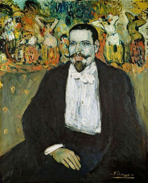 Pablo Picasso, Gustave Coquiot, Paris 1901, ÖL/Lw, 100 x 81 cm (Musée National Picasso, Paris, Deposit Centre Pompidou, Paris, Musée national d'art moderne/Centre de creation industrielle, Erworben von den Musées nationaux 1933) © Sucesiòn Pablo Picasso, VEGAP, Madrid, 2017 © Centre Pompidou, MNAM-CCI, Dist. RMN-Grand Palais/Béatrice Hatala.