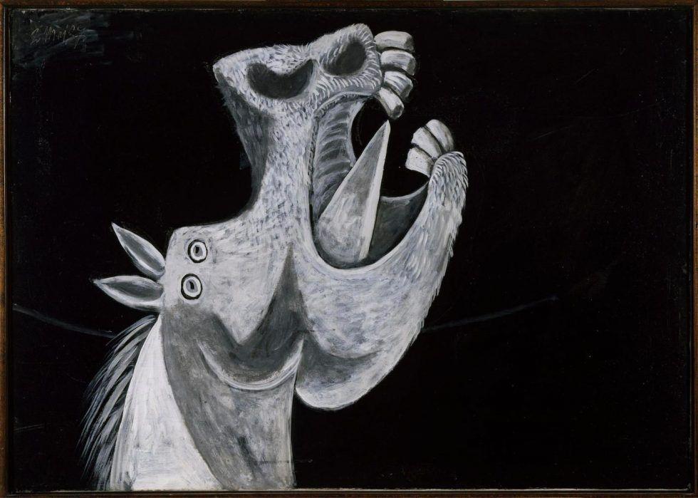 Pablo Picasso, Pferdekopf, Skizze für Guernica, Paris, 2. Mai 1937, Öl auf Leinwand, 65 x 92 cm (Museo Nacional Centro de Arte Reina Sofia, Legado Picasso, 1981 / © Sucesión Pablo Picasso, VEGAP, Madrid, 2017)