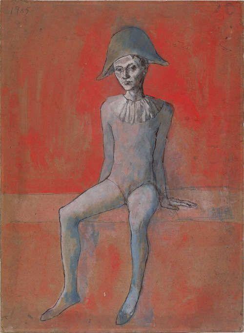 Pablo Picasso, Sitzender Harlekin, Paris 1905, Aquarell und schwarze Tusche auf Karton, 57,2 x 41,2 cm (Staatliche Museen zu Berlin, Nationalgalerie, Museum Berggruen) © Sucesiòn Pablo Picasso, VEGAP, Madrid, 2017.