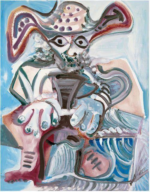 Pablo Picasso, Sitzender Mann mit Hut, 1972, Öl/Lw, 145,5 x 114 cm (Museum Frieder Burda, Baden-Baden), © Sucesión Pblo Picasso, VEGAP, Madrid, 2017