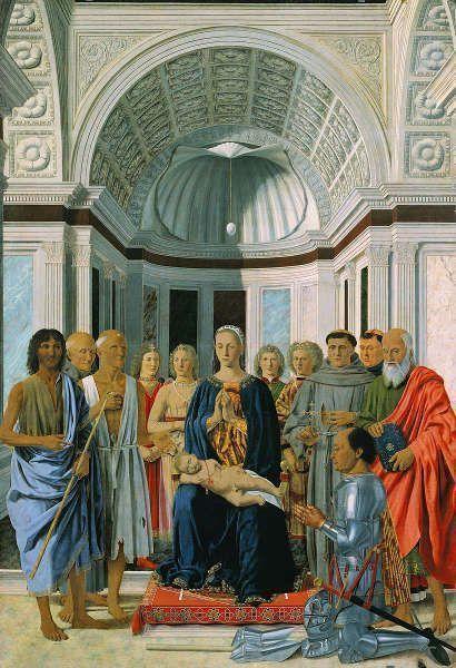Piero della Francesca, Pala Montefeltro / Pala di Brera / Madonna mit Kind und Heiligen und dem Stifter Federico da Montefeltro, 1466–1474, Tempera/Holz, 251 × 172 cm (Pinacoteca di Brera)