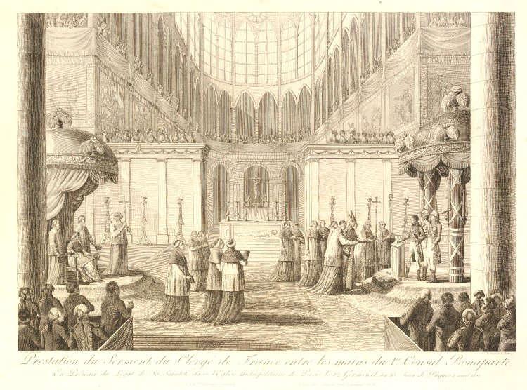 Pierre Adrien Le Beau, Französische Erzbischöfe und Bischöfe schwören Napoleon als Erstem Konsul die Nachfolge in Anwesenheit des päpstlichen Legaten, 1802 (© The Trustees of the British Museum)
