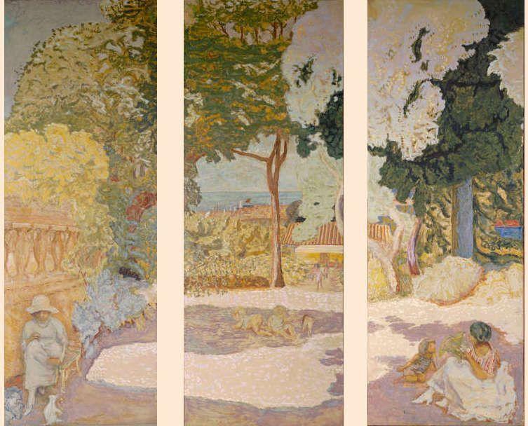 Pierre Bonnard, Das Mittelmeer. Triptychon, Saint-Tropez 1911, Öl/Lw, je 407 × 152 cm, Sammlung Iwan Morosow, 1911, beauftragt im Januar 1910 (Eremitage Museum, St. Petersburg)
