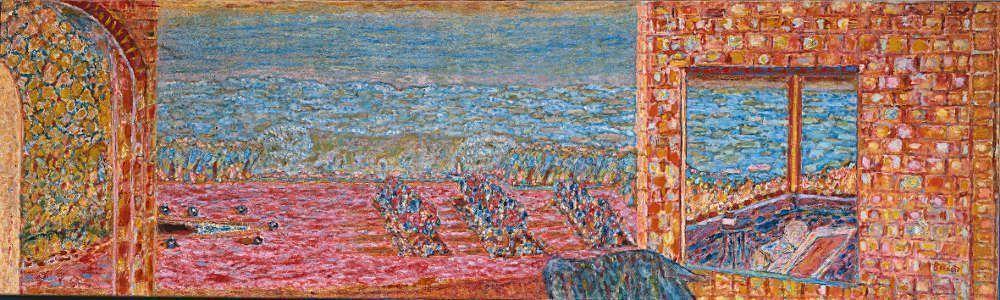 Pierre Bonnard, Die sonnige Terrasse, 1939–1946, Öl auf Leinwand, 71 x 236 cm (Privatbesitz © VG Bild-Kunst, Bonn 2017)