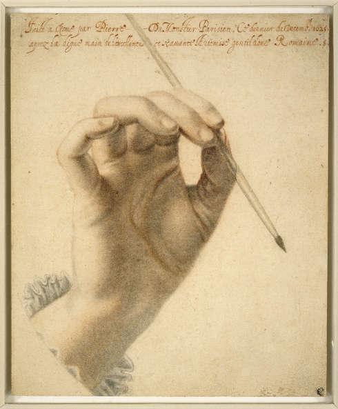 Pierre Dumonstier II, Die rechte Hand von Artemisia Gentileschi, einen Pinsel haltend, 1625, schwarze und rote Kreide auf Papier, 21.9 × 18 cm (The British Museum, London (1835,0711.35.3) © The Trustees of The British Museum)