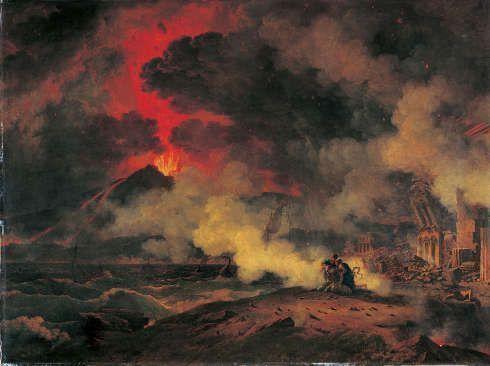 Pierre-Henri de Valenciennes, Der Ausbruch des Vesuv mit dem Tod des Plinius, 1813, Öl auf Leinwand, 192 x 145 cm (© Musée des Augustins, Toulouse, Foto: Daniel Martin)
