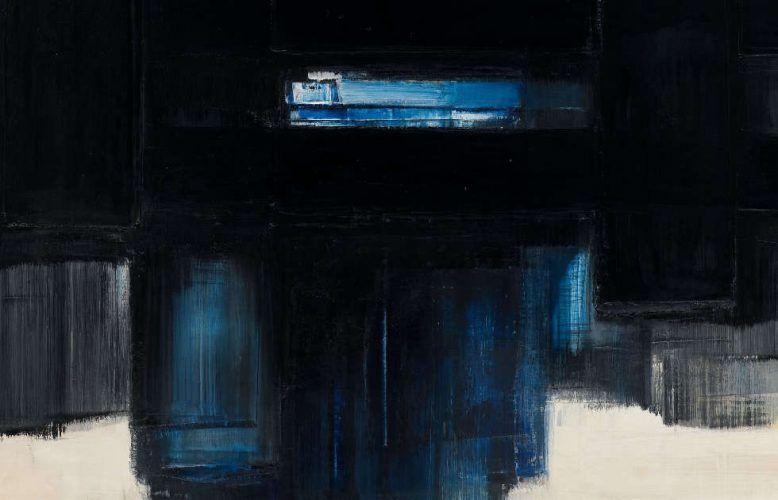 Pierre Soulages, Peinture 89 × 130 cm, 7 juillet 1957 –1958, Detail, Öl/Lw (Kunstbesitz der Landeshauptstadt Hannover, Sprengel Museum Hannover © VG Bild-Kunst, Bonn 2020)