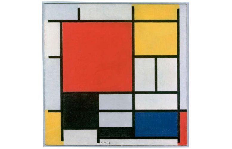 Piet Mondrian, Komposition in Rot, Gelb, Blau und Schwarz, 1921, Öl-Lw, 59.5 x 59.5 cm (Kunstmuseum, Den Haag)