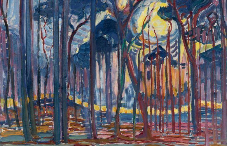 Piet Mondrian, Wald (Wald bei Oele), Detail, 1908, Öl/Lw, 128 x 158 cm (Kunstmuseum Den Haag – bequest Salomon B. Slijper, Inv.-Nr. 0334284)