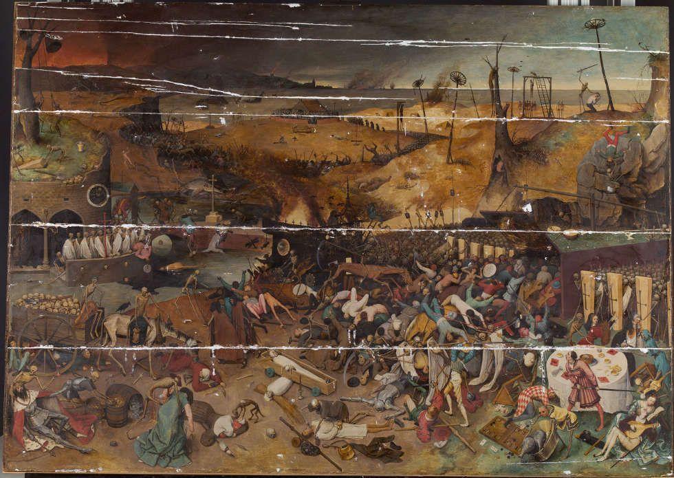 Pieter Bruegel d. Ä., Der Triumph des Todes (entfernte Retuschen), 1562–1563, Öl-Holz, 117 x 162 cm (Madrid, Museo Nacional del Prado)