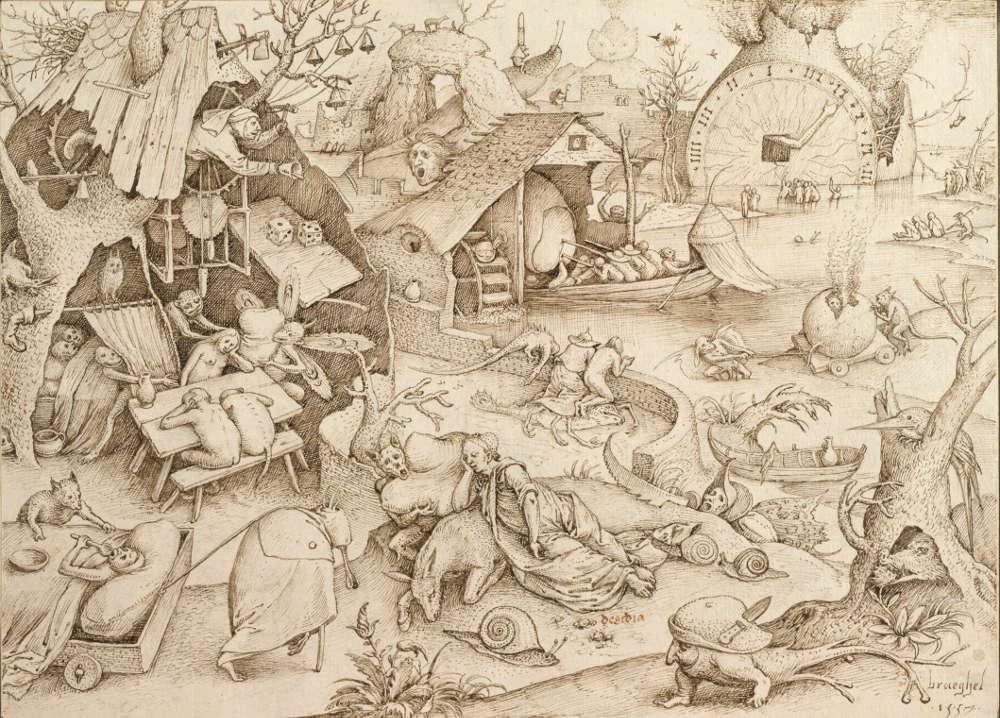 Pieter Bruegel d. Ä., Trägheit (Desidia) aus der Serie der Sieben Todsünden, 1557, Feder in Graubraun, 21,4 x 29,6 cm (Albertina, Wien, Inv. 7872)