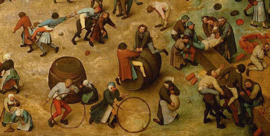 Pieter Bruegel der Ältere, Kinderspiele, Detail 2, 1560, signiert und datiert, Öl auf Eichenholz, 118 x 161 cm (Wien, Kunsthistorisches Museum, Inv.-Nr. 1017)