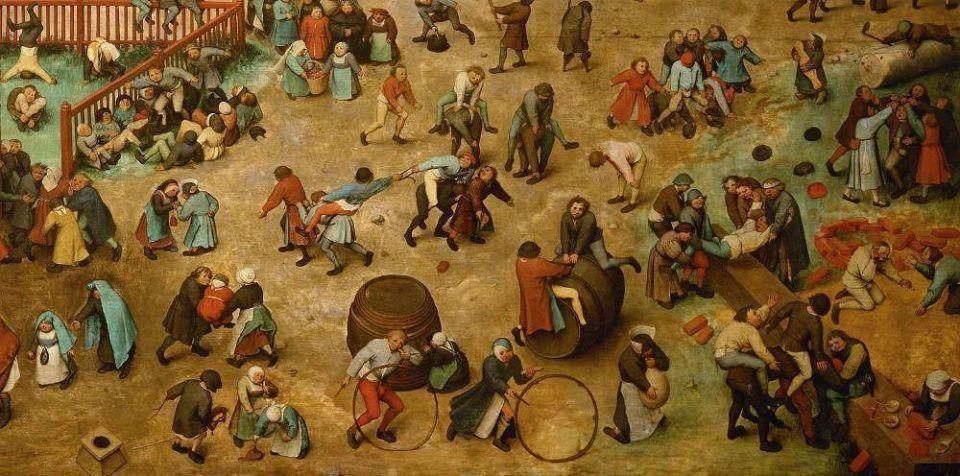 Pieter Bruegel der Ältere, Kinderspiele, Detail, 1560, signiert und datiert, Öl auf Eichenholz, 118 x 161 cm (Wien, Kunsthistorisches Museum, Inv.-Nr. 1017)