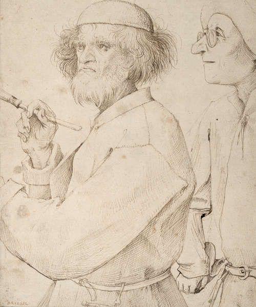 Pieter Bruegel d. Ä., Maler und Käufer, um 1565, Feder in Braun, 25,5 x 21,5 cm (© Albertina, Wien, Inv. 7500)