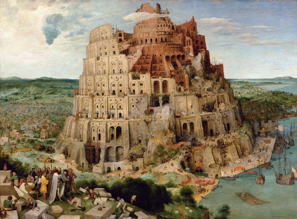 Pieter Bruegel der Ältere, Der Turmbau zu Babel, 1563, signiert und datiert, Öl auf Eichenholz, 114 x 155 cm (Wien, Kunsthistorisches Museum, Inv.-Nr. 1026)