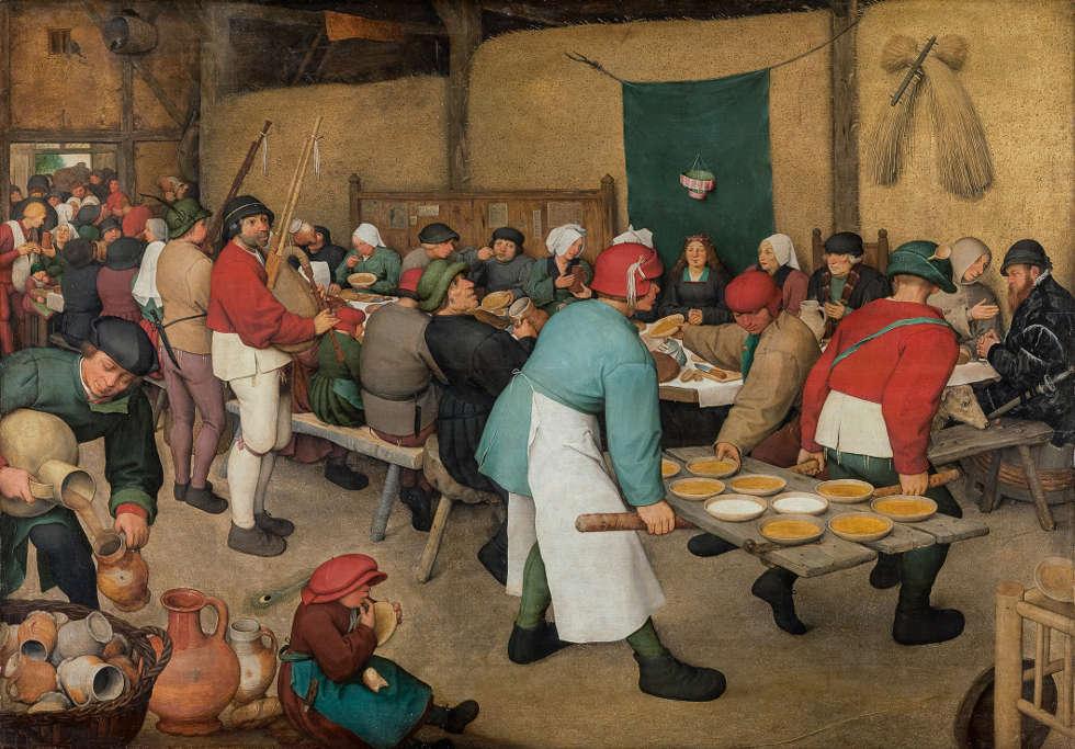 Pieter Bruegel d. Ä., Bauernhochzeit, um 1567, Öl auf Holz, 114 x 164 cm (Kunsthistorisches Museum, Gemäldegalerie © KHM-Museumsverband)