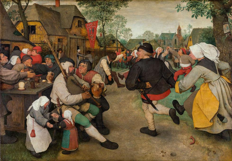 Pieter Bruegel d. Ä., Bauerntanz, um 1568, Öl auf Holz, 113,5 x 164 cm (Kunsthistorisches Museum, Gemäldegalerie © KHM-Museumsverband)
