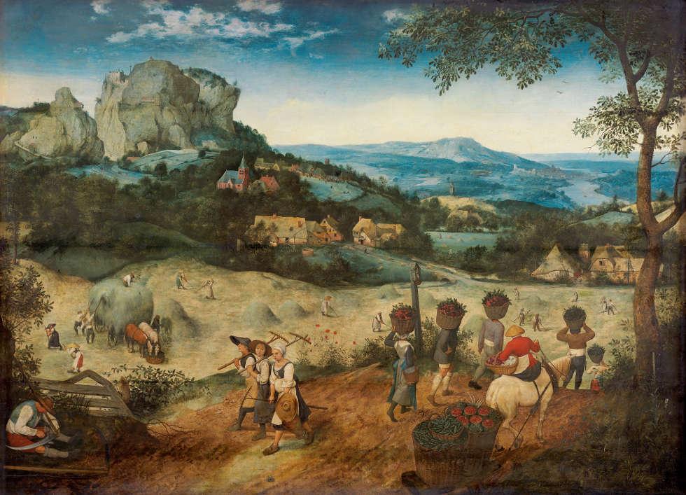 Pieter Bruegel d. Ä., Die Heuernte, 1565, Eichenholz, 114 × 158 cm (Prag, The Lobkowicz Collections, Palais Lobkowicz, Prager Burg © Prag, The Lobkowicz Collections)