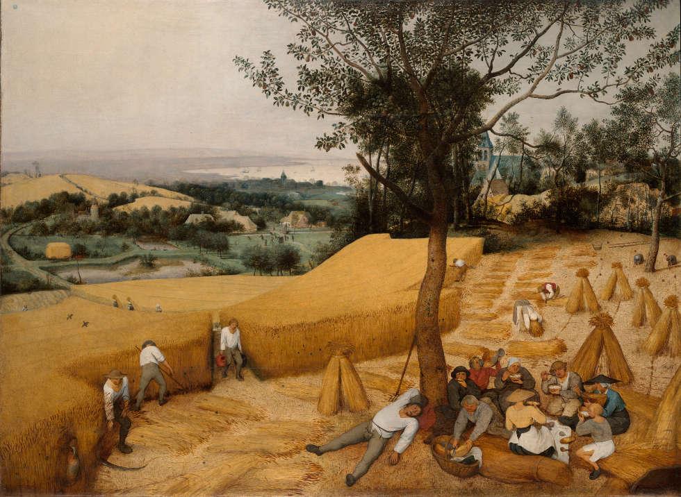 Pieter Bruegel d. Ä., Getreideernte, 1565, Öl auf Holz, 119 x 162 cm (Metropolitan Museum of Art, New York, Fogers Fund 1919)