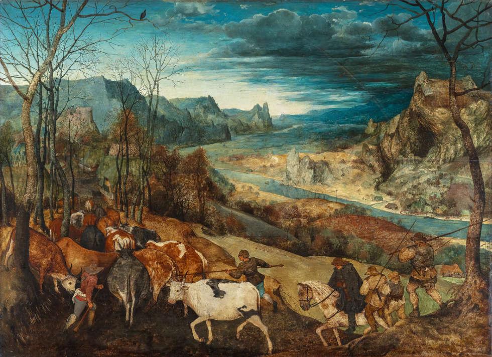 Pieter Bruegel d. Ä., Heimkehr der Herde, 1565, Öl auf Holz, 117 x 159 cm (Kunsthistorisches Museum, Gemäldegalerie © KHM-Museumsverband)