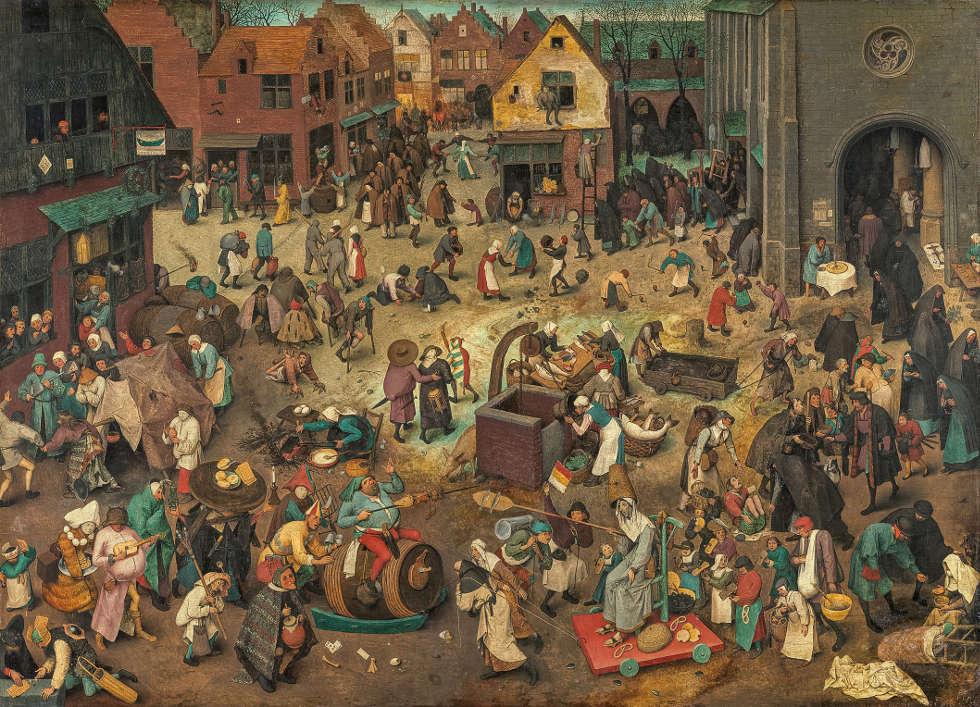 Pieter Bruegel d. Ä., Kampf zwischen Fasching und Fasten, 1559, Öl auf Holz, 118 x 164,5 cm (Kunsthistorisches Museum, Gemäldegalerie © KHM-Museumsverband)