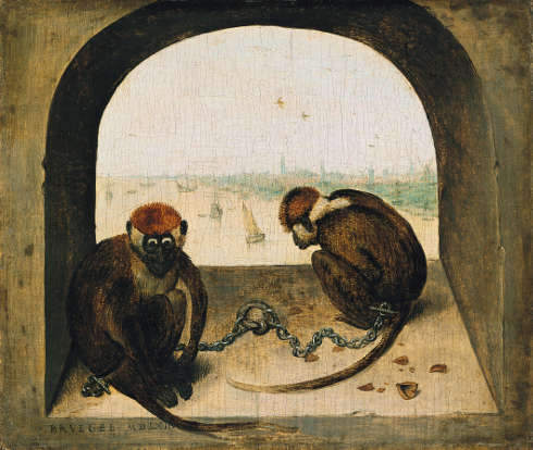 Pieter Bruegel d. Ä., Zwei angekettete Affen, 1562, Eichenholz, 19,8 × 23,3 cm (Staatliche Museen zu Berlin, Gemäldegalerie © Staatliche Museen zu Berlin, Gemäldegalerie / Christoph Schmidt)