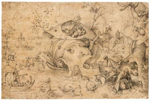 Pieter Bruegel d. Ä., Die Versuchung des hl. Antonius, um 1556, Feder und Pinsel mit brauner und grau-brauner Tusche, 215 (rechts) / 216 (links) × 326 mm (Oxford, The Ashmolean Museum, Bequeathed by Frances Douce, 1834 © Ashmolean Museum, University of Oxford)