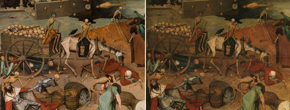 Pieter Bruegel d. Ä, Der Triumph des Todes, König, Karren, Leiermann (vor und nach der Restaurierung), 1562–1563, Öl-Holz, 117 x 162 cm (Madrid, Museo Nacional del Prado)