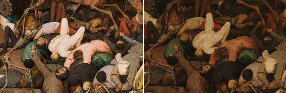 Pieter Bruegel d. Ä, Der Triumph des Todes, Sterbende (vor und nach der Restaurierung), 1562–1563, Öl-Holz, 117 x 162 cm (Madrid, Museo Nacional del Prado)