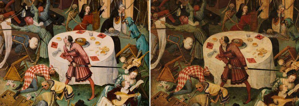 Pieter Bruegel d. Ä, Der Triumph des Todes, höfische Gesellschaft (vor und nach der Restaurierung), 1562–1563, Öl-Holz, 117 x 162 cm (Madrid, Museo Nacional del Prado)