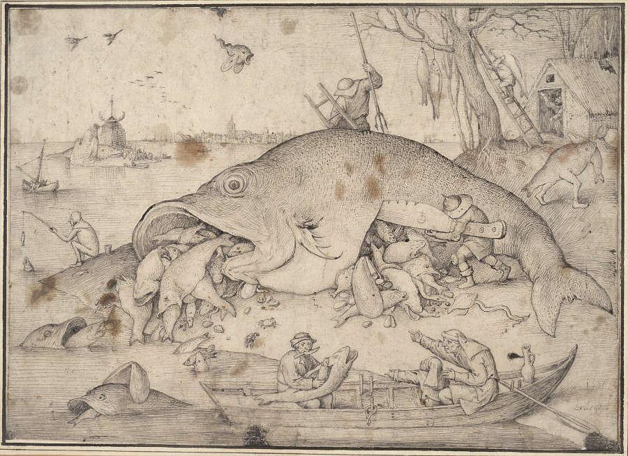 Pieter Bruegel d. Ä., Die großen Fische fressen die kleinen, 1556, Feder und Pinsel in Grau und Schwarz (© Albertina, Wien, Inv. 7875)