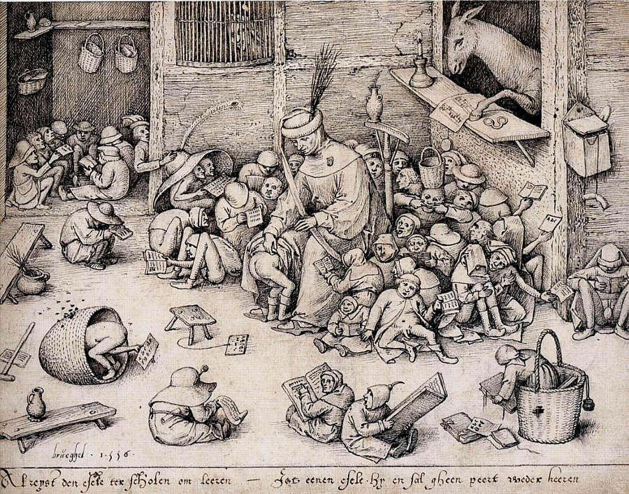 Pieter Bruegel d. Ä. (Stecher: Pieter van der Heyden), Der Esel in der Schule, 1557 (© Albertina, Wien, Inv. DG1955/117)